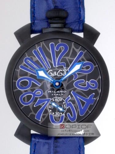 ガガミラノマヌアーレ スーパーコピー手巻き 5012 MOSAICO 2 ブルー皮 ブラックモザイク/ブルーアラビア