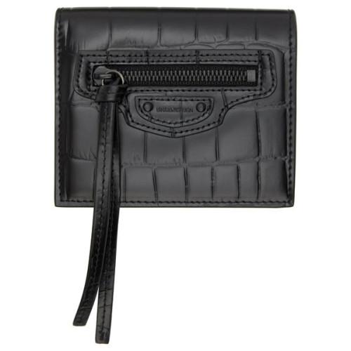 ギフトに♪【BALENCIAGA】偽物クロコ Neo Classic 二つ折り 財布