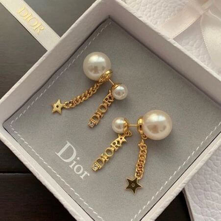 Dior ピアス 偽物 Dior Tribales ホワイトビーズ 星&ロゴ**Gold EARRINGS