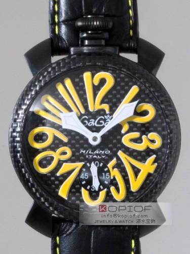 ガガミラノマヌアーレ スーパーコピー手巻き 5016.2 ブラック皮(イエローステッチ) ブラックカーボン/イエローアラビア