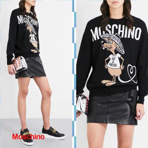 モスキーノ コピーMOSCHINO 2018 Rat-A-Porter ロング ウール プルオーバー Moschino ニット セーター 愛いネズミさん 長袖薄手ニット