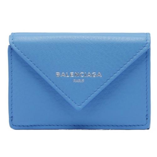 バレンシアガ ミニ財布 コピーBALENCIAGA ペーパーミニウォレット 折りたたみ財布 ブルー Light Blue