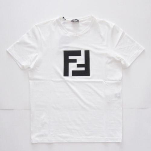 フェンディコピーFENDI ロゴパッチ コットン Tシャツ ホワイト FAF532A54P 正面のFFロゴがアピール