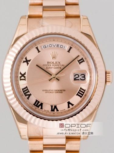 ロレックス デイデイト スーパーコピー218235 プレジデントブレス ピンク ブラックローマ