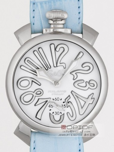 ガガミラノマヌアーレ スーパーコピー手巻き 5010.10 ライトブルー皮 ホワイト/シルバーアラビア