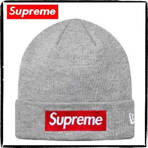 supreme ニット 帽 偽物 Supreme x New Era Box Logo Beanie グレー ニット帽