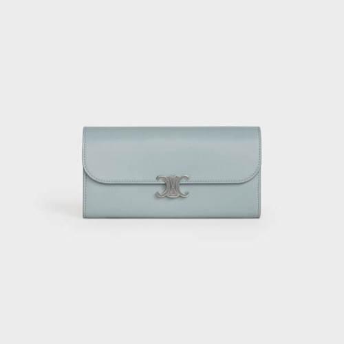 CELINE セリーヌ 財布 偽物 ラージ トリオンフ フラップウォレット / シャイニーラムスキン 10E313BZG.07ME