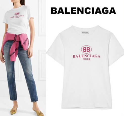 バレンシアガ t シャツ コピー BB モード セミ フィット T シャツ ピンクロゴが可愛い