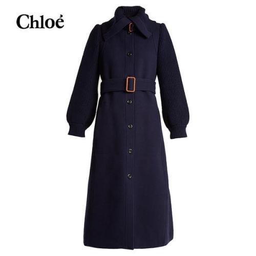 クロエ 2018AW chloe コート Navy-blue クロエ 服 レディース スーパーコピー