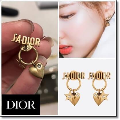 Dior ピアス コピー TWICE ナヨン愛用 J'ADIOR ゴールドピアス ホワイトクリスタル