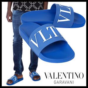 夏らしい鮮やかカラーヴァレンティノ サンダル 偽物【VALENTINO】19SS/VLTN ラバー ロゴサンダル/Blue RY0S0873SYE CT6