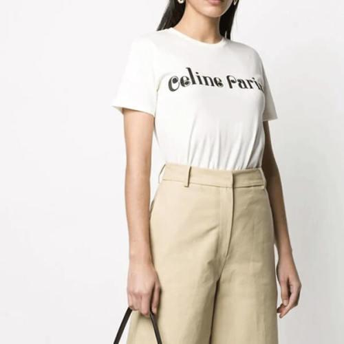 新作 CELINE セリーヌロゴ Tシャツ 偽物 2X406090K レギュラーフィット
