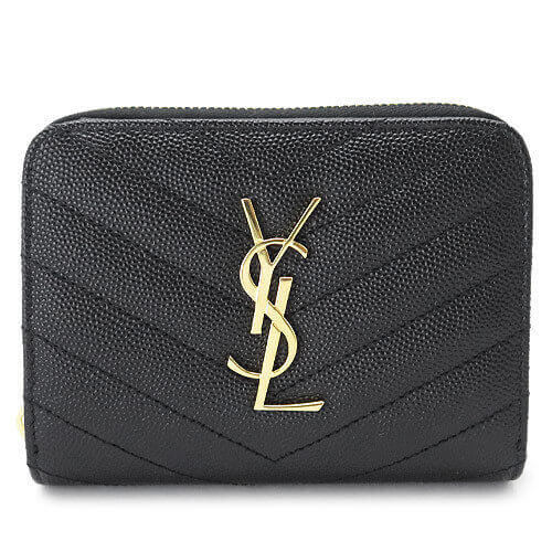 サンローラン 財布コピー 折り財布 403723 BOW01 1000 ブラック キャビアスキンのようなしっかりした型押しレザーを斜めにキルティングした折財布です
