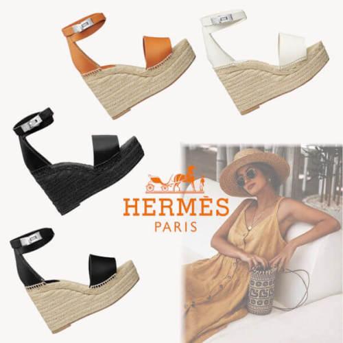 エルメス ウェッジサンダル 偽物 TIVOLI ESPADRILLE H191098Z 01360 Hermes cute