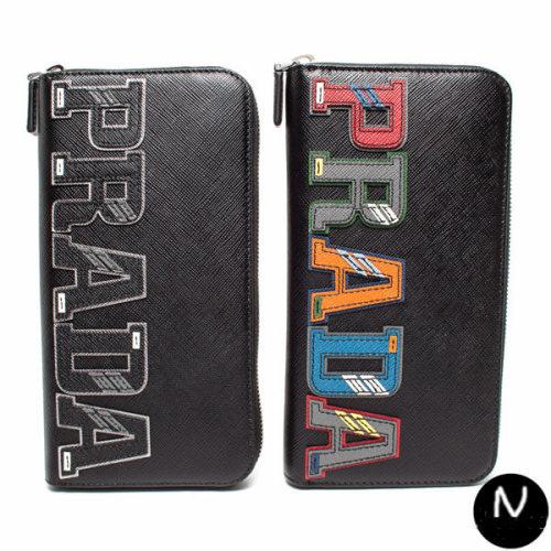 プラダ 財布コピーPRADA 2ML317 2EC4 F0002 白のラインロゴのラウンドジップタイプ 牛革財布 サフィアーノカーフ