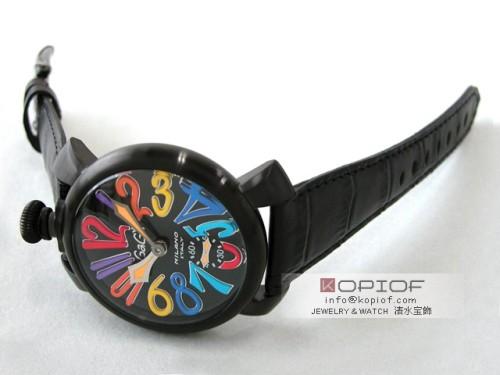 ガガミラノマヌアーレ スーパーコピー5012.3 ブラック皮(ブラックステッチ) ブラックマット/マルチカラーアラビア