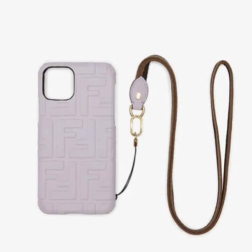 fendi iphoneケース コピー ペカン iPhone 11 Pro ショルダー ライラックレザー カバー