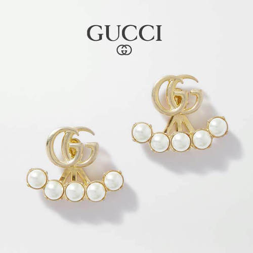 GUCCI Double G faux pearl ピアス