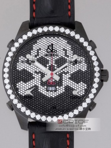 ジェイコブ ファイブタイムゾーン スーパーコピーJC-SKULL9D 1重ベゼルダイヤ 47mm 世界限定55本 PVD加工 全面ダイヤ