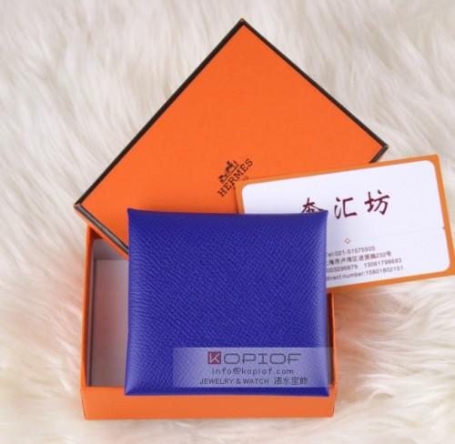 エルメス財布コピーバスティア GM コインケース エプソン ブルーエレクトリック シルバー金具