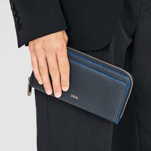 Dior ネイビーブルー グレインカーフスキン 長財布
