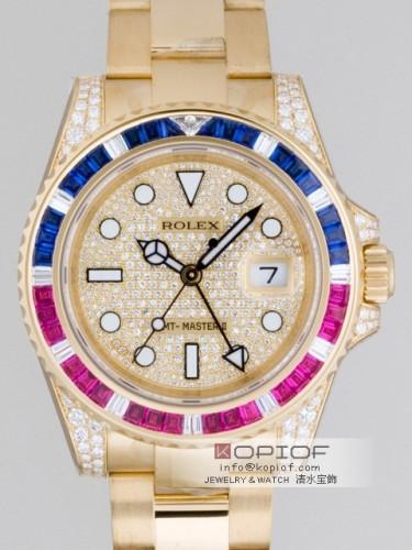 ロレックス GMTマスターII スーパーコピー116758SARU DP サファイヤ・ルビー・ダイヤベゼル 全面ダイヤ