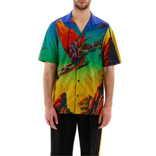VALENTINO ヴァレンティノ Tシャツ コピー VALENTINO DRAGON AT DAWN PRINT SHORT-SLEEVED SHIRTTV0AA77165S84M