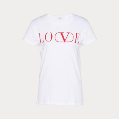 ★VALENTINO★LOVE ヴァレンティノ Tシャツ コピー シンプル半袖☆White×Red SB0MG03S52Y0BO