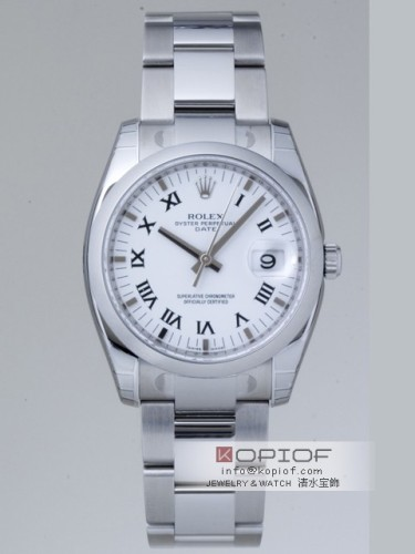 ロレックス パーペチュアル デイト スーパーコピー115200 ホワイトプリントローマ