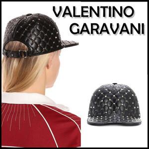 ヴァレンティノ キャップ コピー Valentino Garavani ロックスタッドスパイクレザーキャップ