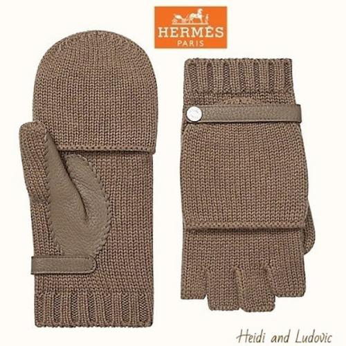 エルメス DHL発 カシミア手袋「Baltimore ボルチモア」/ Etoupe H202048G 36S