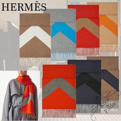 ギフトにも♪ Hermes Casaque Chevron カシミヤ マフラー 偽物 H259065S