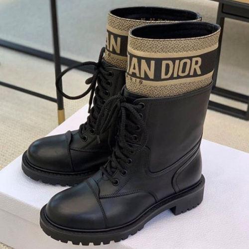 """☆Dior☆ミリタリー風 """"D-Major"""" ショートブーツ偽物*Black KDI631SCN"""