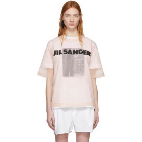 ジルサンダー tシャツ コピー JIL SANDER ロゴ入シースルートップ Tシャツ