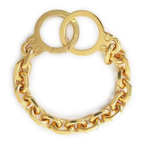 セリーヌ ブレスレット 偽物 CELINE 人気 Golden Handcuff チェーンブレス CELINE シェン トリオンフ スモール ブレスレット46Q556SIV 35OR