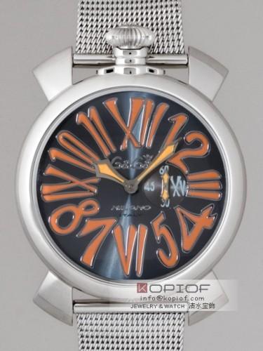 ガガミラノ スリム46MM スーパーコピークォーツ 5080.4 SSブレス グレー/オレンジナンバー