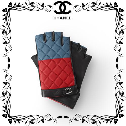 シャネル手袋スーパーコピー CHANEL グローブラムスキン ブラック レッド&ブルー A72977 Y07326 K0457