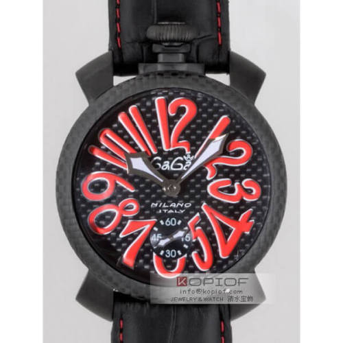 ガガミラノマヌアーレ スーパーコピー手巻き 5016.8 ブラック皮 ブラックカーボン/レッドアラビア