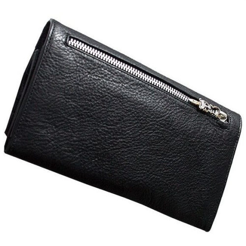 クロムハーツ 財布 コピークロスボタン ブラックヘビーレザー