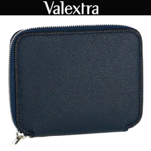 ヴァレクストラ スーパーコピー レザージップコンパクト財布 /紺