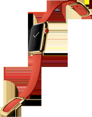 Apple Watch スーパーコピー38mm 18Kイエローゴールドケースとブライトレッドモダンバックル