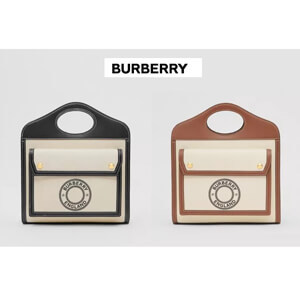 Burberry バーバリー ポケットバッグ コピー ミニロゴグラフィックキャンバス&レザー 80280581
