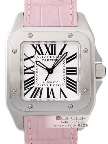 カルティエ サントス100 スーパーコピーW20126X8 SS ピンク皮 ホワイト