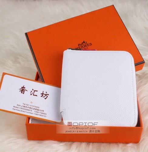 エルメス財布コピーアザップ シルクイン コンパクト[Azap Silkin] エプソン×シルク ホワイト×ローズ シルバー金具