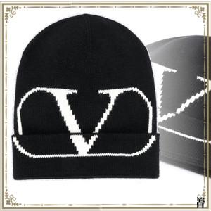 Valentino ヴァレンティノ キャップ 偽物 Vロゴ ビーニー ブラック