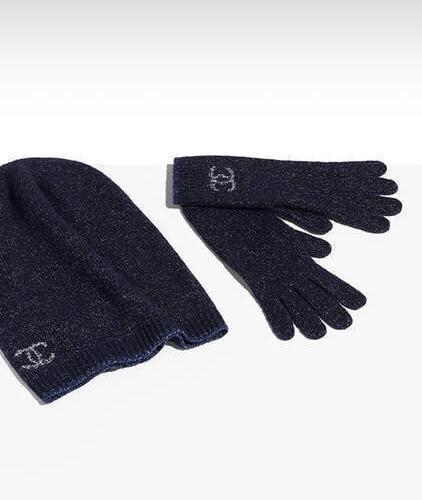 シャネル手袋スーパーコピー CHANELグローブカシミヤ&シルク ネイビーブルーA77693 X11590 1C099