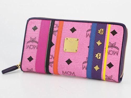 MCM 財布 コピーMYL4AVC41/PK001 DIA VISETOSラウンド長財布 ピンク レザー レディース