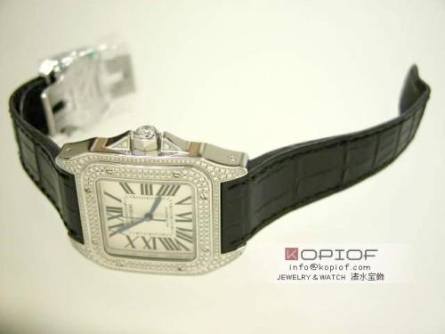 カルティエ サントス100 スーパーコピーWM501751 WG ケース・ベゼルダイヤ ホワイトシェル
