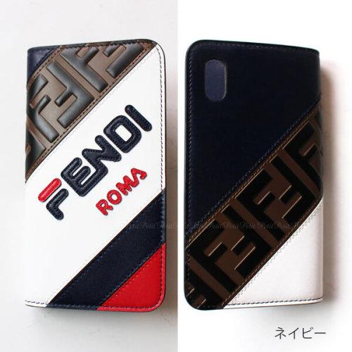 フェンディiPhoneXS ケース コピー FENDI マニア Fendi手帳型iPhone X iPhone Xs用ケース ネイビー&ホワイト