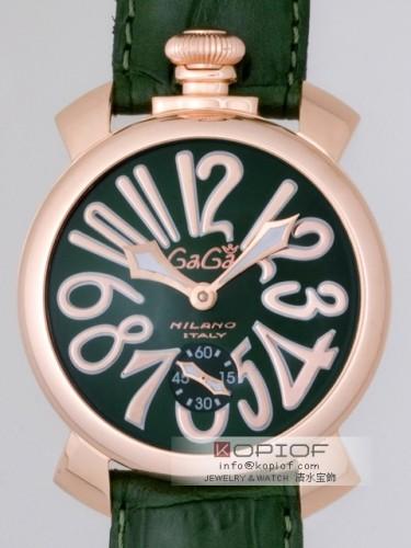 ガガミラノマヌアーレ スーパーコピー手巻き 5011.4 グリーン皮 グリーン/ピンクゴールドアラビア